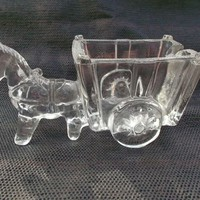 Vintage Clear Glass Horse Donkey Cart Wagon Ashtray Condiment Candies