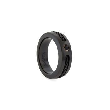 Black Titanium Band Ring with Memory Cable & Spinel Accent
