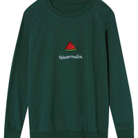 Green Embroidered Sweatshirt