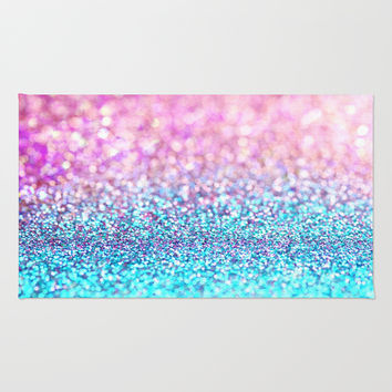 Pastel sparkle- photograph of pink and turquoise glitter Rug by Sylvia Cook Photography