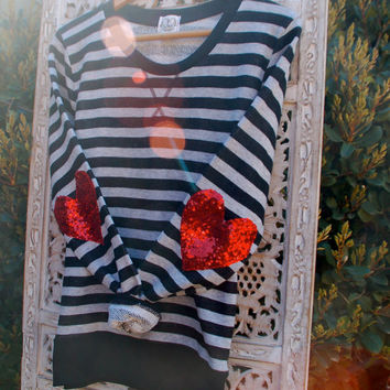 """Sequin Heart Elbow Patch - """"Dazzle Patch"""" French Terry Striped Sweatshirt w/ Red Heart Sequin Elbow Patch"""