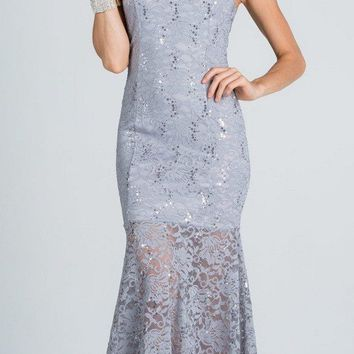 Embellished Neckline Halter Long Mermaid Formal Dress Silver