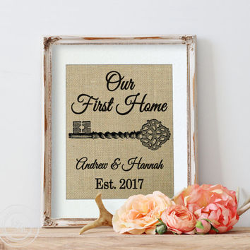 Home Address Sign | New Home Gift | Our First Home | Personalized Housewarming Gift | Burlap Print | Real Estate Agent Gift | Home Owner