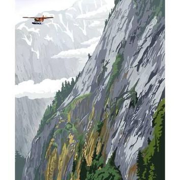 Misty Fjords and Float Plane Art Print by Lantern Press at Art.com