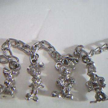 vintage Disney charm bracelet, Mickey Mouse, Minnie Mouse, Donald Duck, Pluto