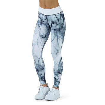 Print Fitness Yoga Pants with Contrast Waistband