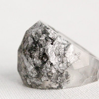 eco resin multifaceted translucent grey ring with by RosellaResin