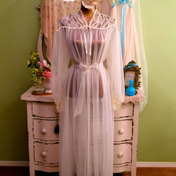Dreamy Chiffon Nightie Set, Long Nightgown & Robe, Medium, Romantic Vintage Lingerie, Hollywood Glam, Elegant 60s Nightdress Peignoir, M