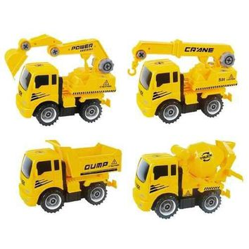 Take-A-Part Construction Truck with 4 Different Forms; Dump Truck, Crane, Cement Mixer, Excavator