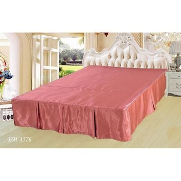 "Dusty Rose Wood Shiny Solid Pink Dust Ruffle Pleated Bed Skirt - Cal King - 14"" Drop (BS-BM4576)"