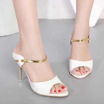 LAKESHI High Heels Sandals Women Ankle-Wrap Women Sandals Beautiful Ladies Sandals Summer Shoes