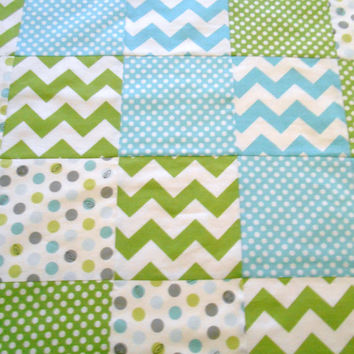 Minky Baby Patchwork Quilt Blanket Riley Blake Chevrons and Dots Michael Miller Aqua Green-Made to Order