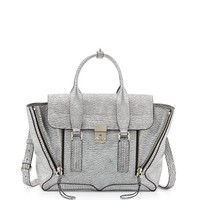 3.1 Phillip Lim Pashli Medium Leather Satchel Bag, Silver