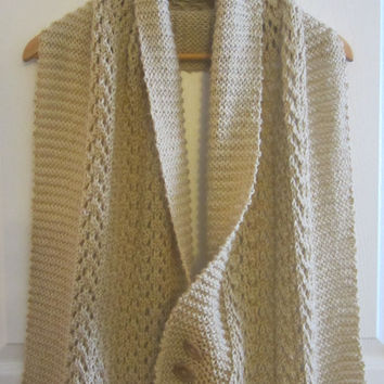 Hand Knit Wrap - Knitted Shawl - Knit Sweater Wrap - Lace Knit Poncho - Wrap with Buttons - Lacy Wrap - Lace Knit Shawl - Extra Large Scarf