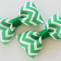 Chevron Hair Clips, Set of 2 Hair Clips, Simple Bow Tie Tuxedo Hairbows, Toddler Pigtails, 2.5 inch, Green White, St. Patrick's Day, Patty'