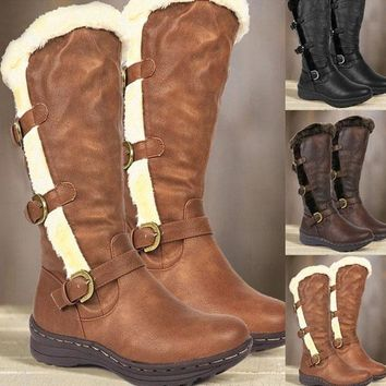 Leather Flat Buckle Round Toe Mid Calf Boots