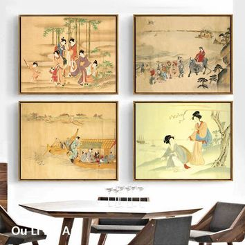 No frame Japan Style kimono woman landscape canvas printings oil paintings printed on canvas home wall art decoration pictures