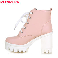 MORAZORA 2016 New Fashion sexy women's ankle boots high heels Punk platform Women winter autumn boots ladies shoes