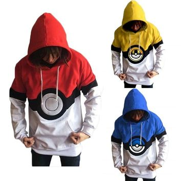 Anime Pocket Monster Pokmon GO ePoke Ball Cosplay Costume Long-sleeved Hoodie Jackets Larger