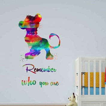 kcik2033 Full Color Wall decal Watercolor Character Disney Sticker Disney children's room The Lion King quote