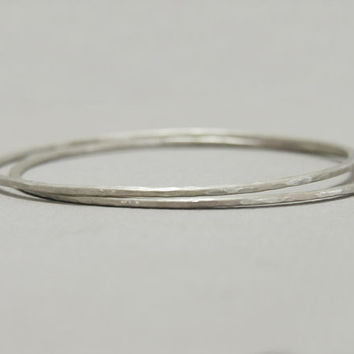 Hammered sterling silver bangles, minimalist stacking bracelets, slim silver cuff, bohemian stacked bangles