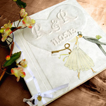Personalized Romantic Lovely Wedding couple holding heart shape balloon Guestbook Album Scrapbook