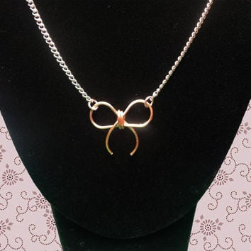 Bow Necklace, 20 inches, Rose Gold