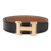 Hermes 32mm Reversible Black/Gold Constance H Belt 95cm Gold Buckle
