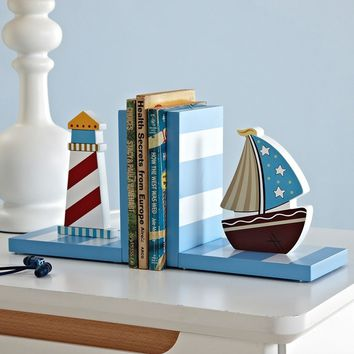 Nordic Style Sailing Shape Bookends Wooden Art Solid Wood Book Holder for Kids Home Study Decoration