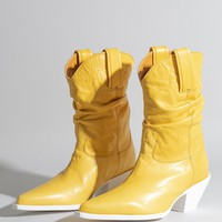 Low Crunch Cowboy Boot - Yellow Leather