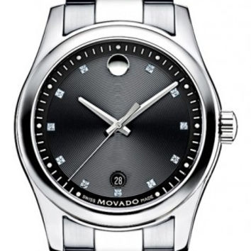 Movado Sportivo Men's Stainless Steel Black Museum Dial Minute Track Date Display Diamond Dial Watch 0606496