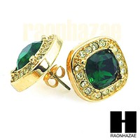 HipHop Iced Out RICK ROSS Gold Tone Micro pave Emerald Green Bling Earrings G131