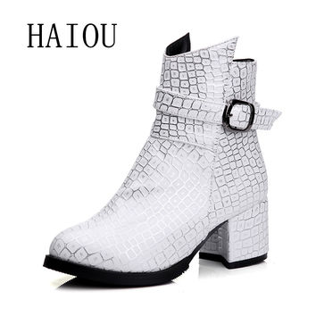 HAIOU 2017 new Women Boots Winter Shoes Fashion Women Moccasins Ankle Boots geometry shoes  black white buckle boots mid heels
