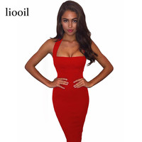 Liooil Sexy Summer Dress Woman's Fashion 2017 Sleeveless Backless Strapless Black White Red Blue Bodycon Midi Party Dresses