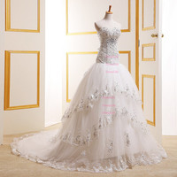Sweetheart Beading Crystal Bodice Chapel Train Tiered beach Wedding Dresses/Ball Gown/Long Wedding Dresses/X100