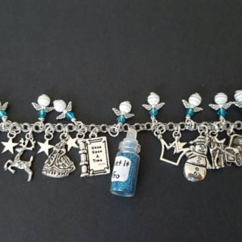 Disney frozen inspired stainless steel charm bracelet