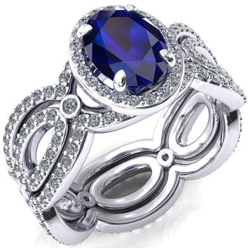 Polaris Oval Blue Sapphire 4 Claw Prongs Diamond Halo Full Eternity Accent Ring