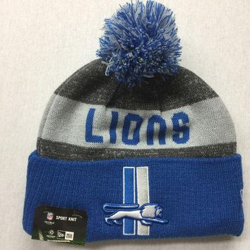 LMFON NFL Detroit Lions Throwback Logo Knit Hat with Pom