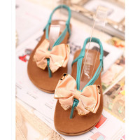 Bow Front Flat Sandals for Women