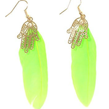 Hamsa Feather Earrings Neon Green Plume Gold Tone Hand EG49 Fashion Jewelry