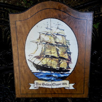 "Vintage Dart Board and Cabinet ""The Golden Clipper"" Nautical Design"