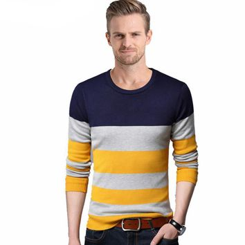 Casual Striped Long Sleeve O-Neck Shirt Spring Autumn Cashmere Wool Pullover Men Sweaters