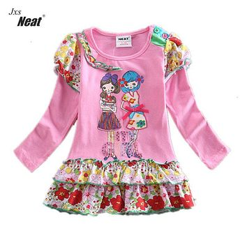 Girl children long-sleeved dress 2017 special offer clearance cotton embroidery flower dress for girls wearing baby dress L195