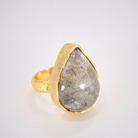 Rutile Quartz Ring - Handmade Ring - Yellow Gold Plated Ring - Fashion Ring - Pear Shape Ring - Statement Ring - Women Ring - Women Ring