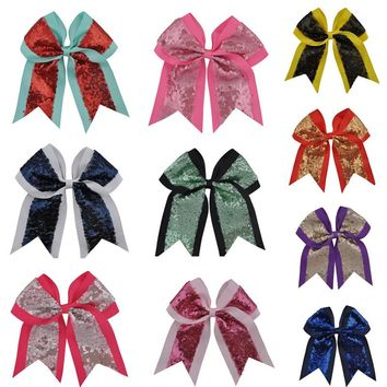 Fashion Sequin Cheerleading Bows Cheer Bow With Clip