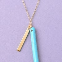 Long Dainty Spear and Charm Necklace - Gold/Turquoise