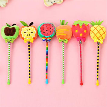 Cute Kawaii Plush Gel Pen Creative Apple Watermelon Pen For Kids Student Gift School Supplies Free Shipping 2417