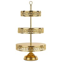 3-Tier Shiny Metallic Reversible Dessert Cupcake Stand (Gold Plated)