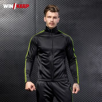 Winter Men Fleece Liner Sports Outwear Coat Full Length Sweatpants Tracksuit Male Outdoor Running Climbing Sportswear 2 Pcs Sets