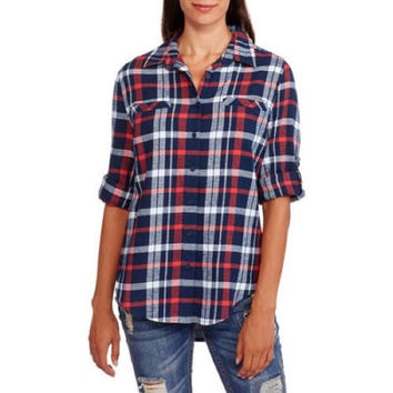 Brooke Leigh Women's Lightweight Flannel Shirt with Pockets, Navy/Red/White, XL